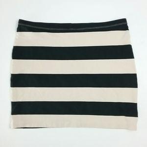 Divided H&M Cream & Black Striped Mini Skirt